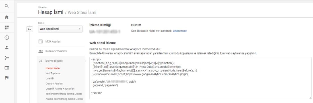 analytics web sitesi kodu