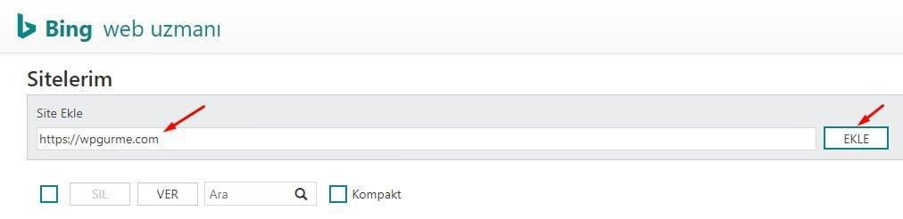 Bing web uzmanı site ekleme