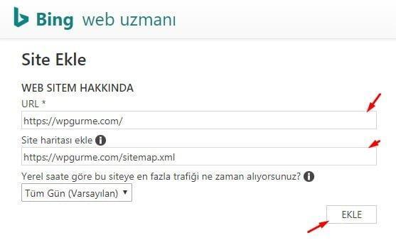 Bing Web Uzmanı Site Adresi ve Site Haritası Ayarları