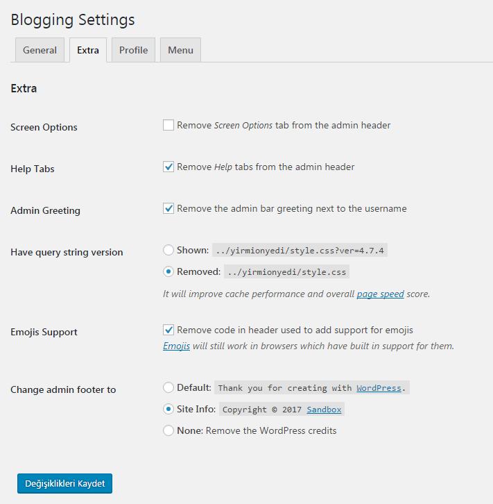 blogging extra ayarları