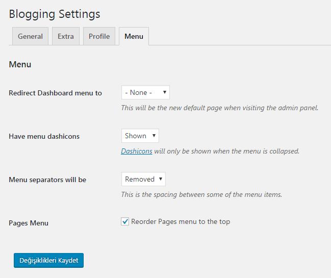 blogging menu ayarı