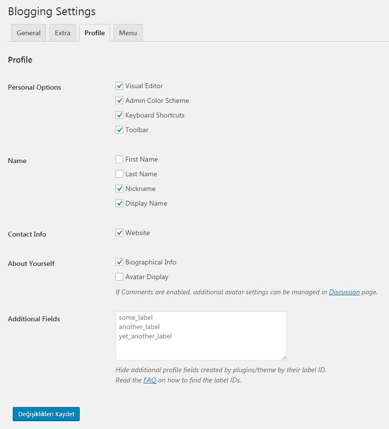 blogging profile ayarları