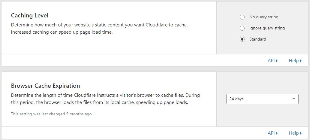 CloudFlare Önbellekleme Ayarları
