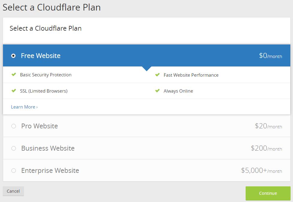 cloudflare paket seçimi