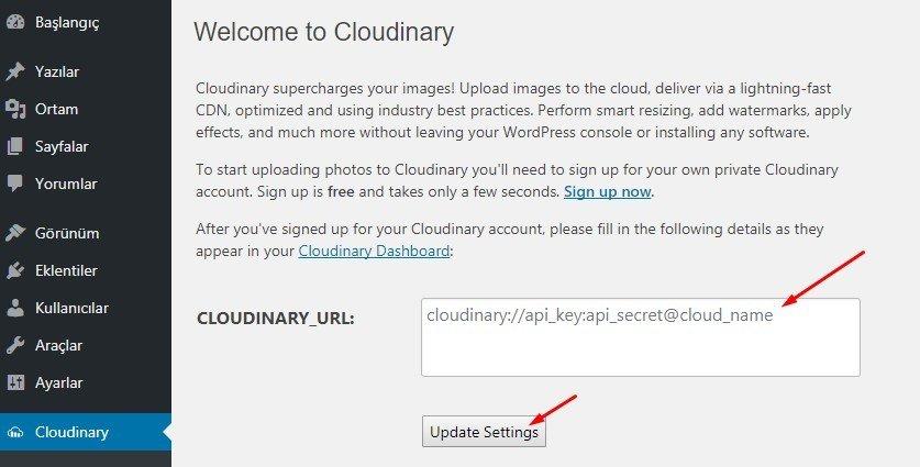Cloudinary url girme ekranı