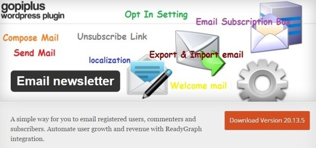Email newsletter eklentisi