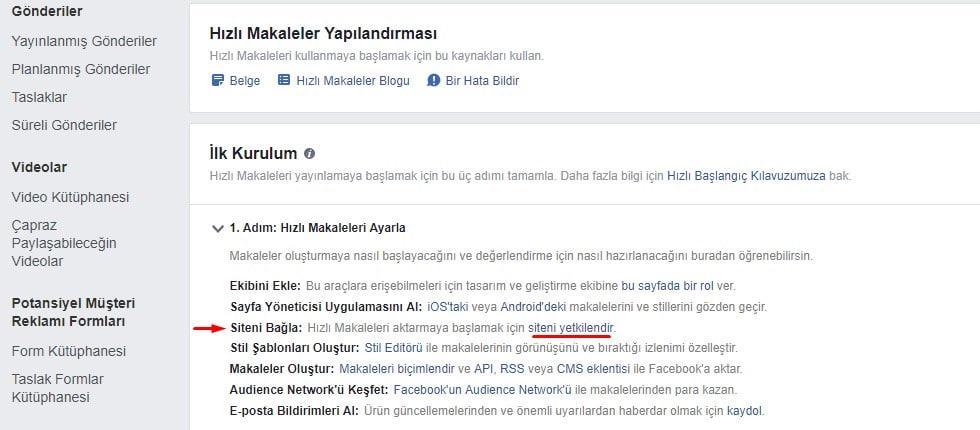 facebook instant articles siteni yetkilendir