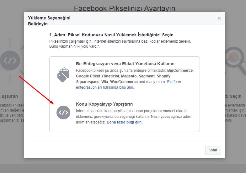facebook piksel kodu seçimi
