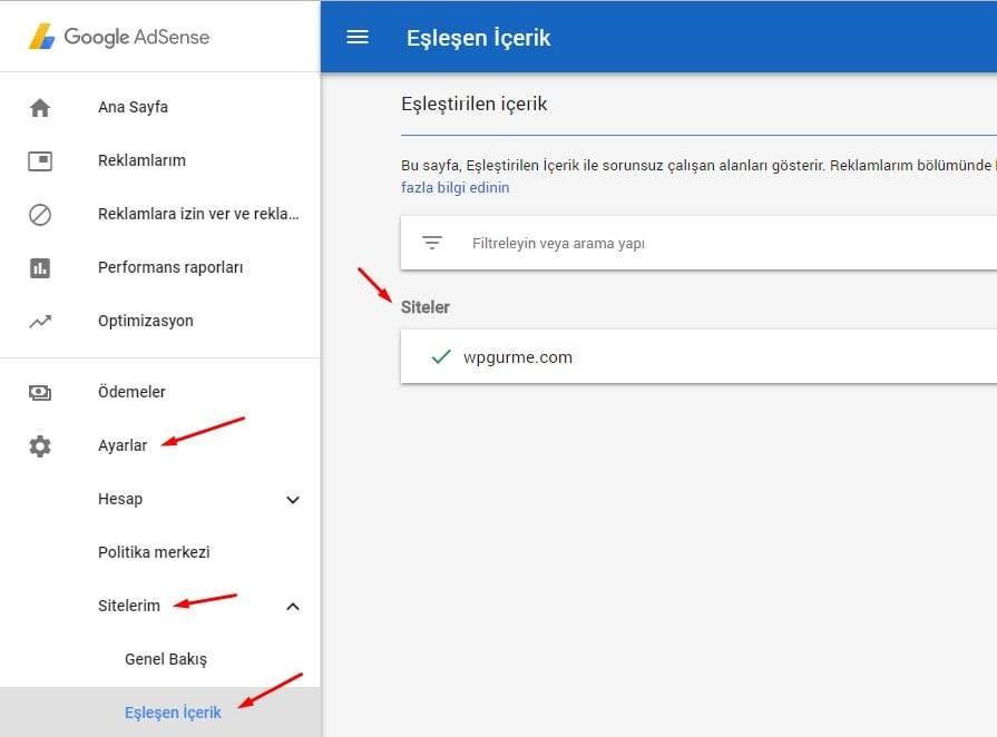 Google AdSense Eşleşen içerik uyumlu siteleriniz
