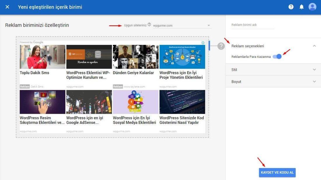 Google AdSense Eşleşen içerik reklam kodu