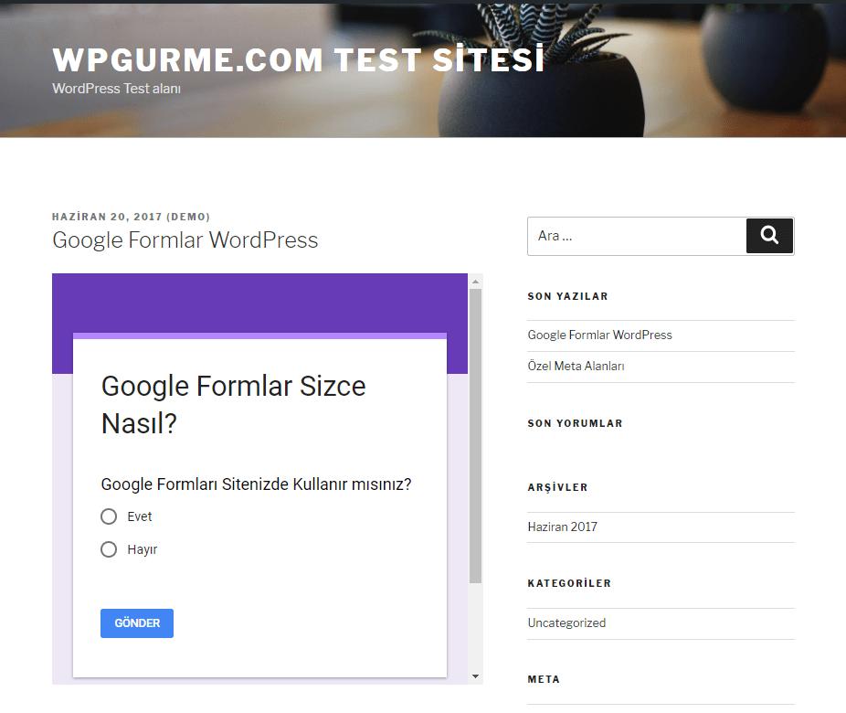 google formlar test sayfası