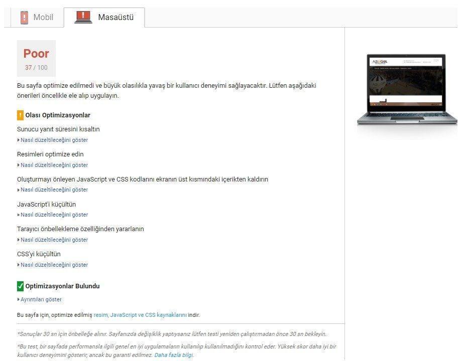 Google PageSpeed Insights test aracı sonuçları