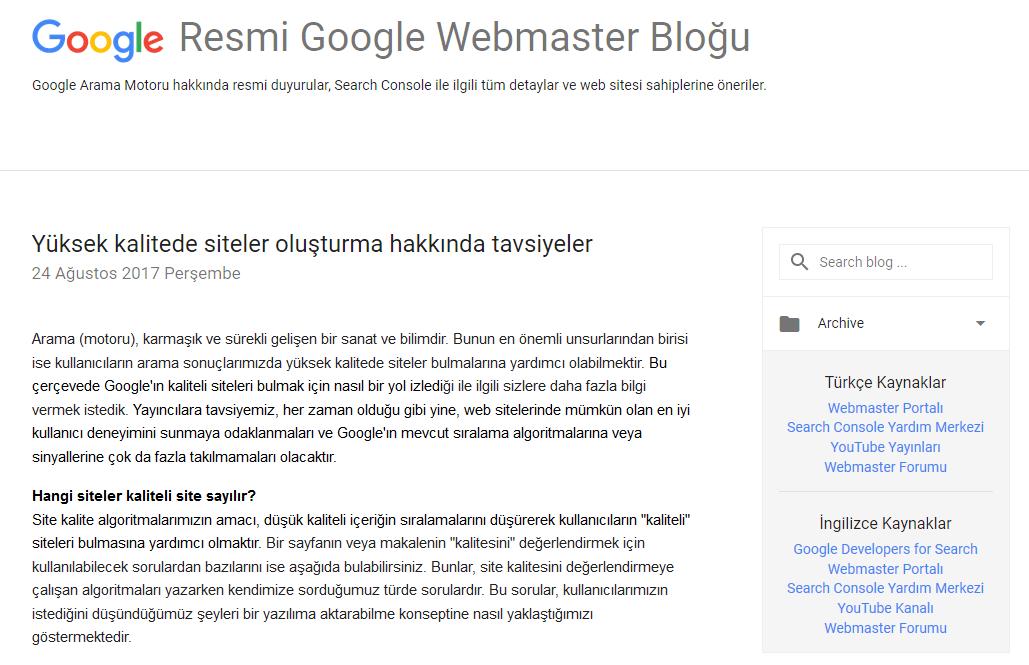 google türkiye webmaster sitesi