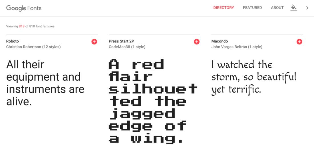 google yazı fontları
