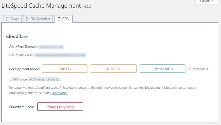 LiteSpeed Cache CloudFlare CDN API Ayarları