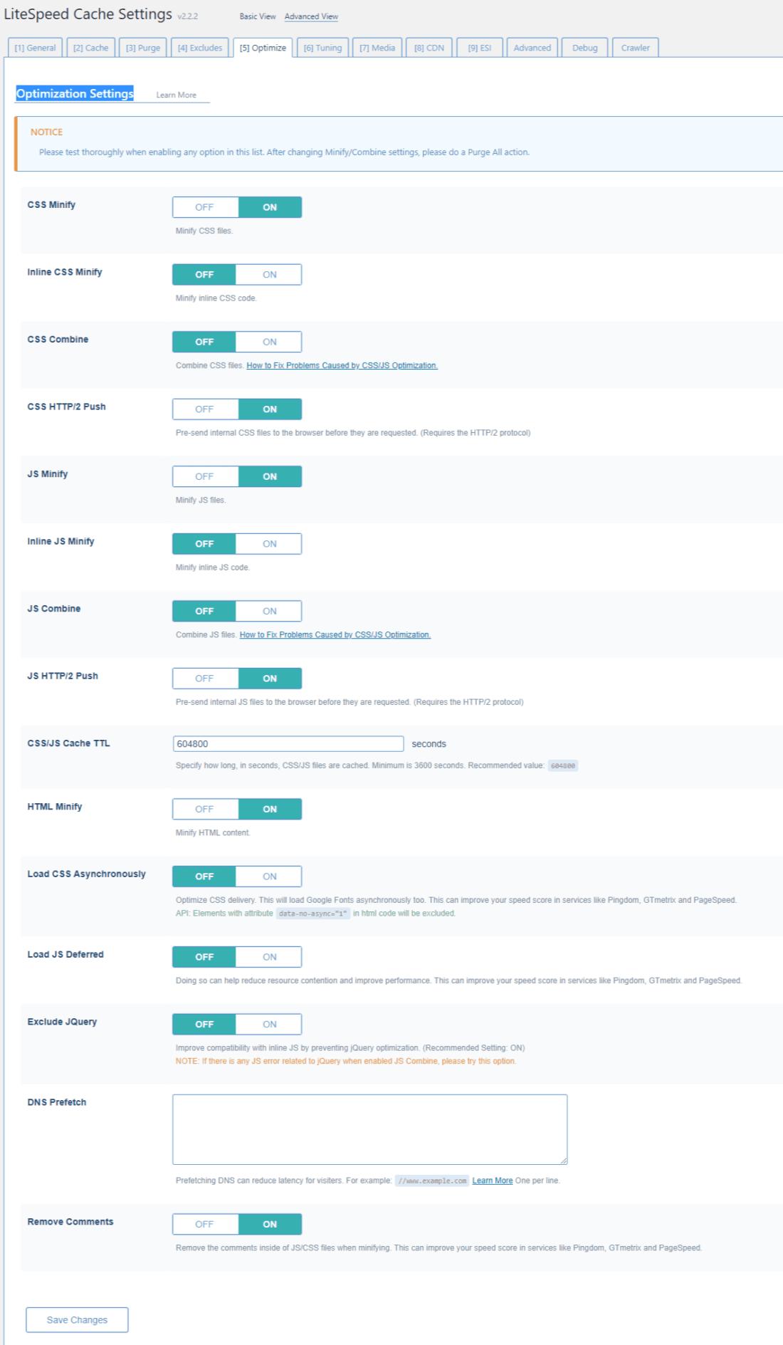 LiteSpeed Cache Optimization Settings