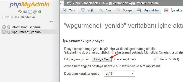 phpmyadmin sql ice aktarma
