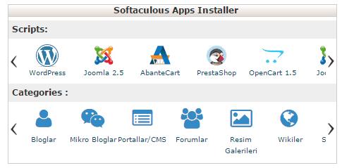 softaculous apps installer wordpress kurulumu