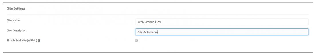 softaculous site bilgileri