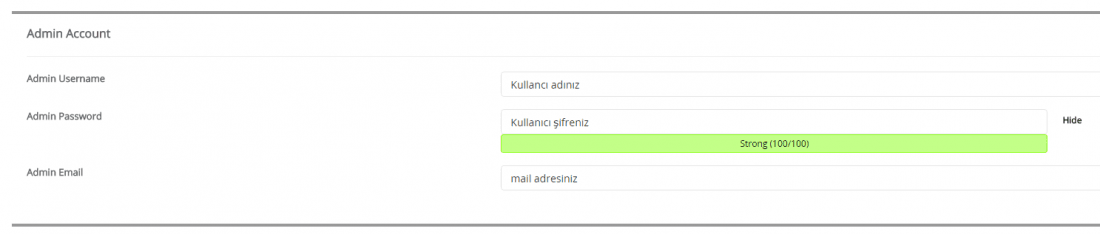 softaculous wordpress admin hesabi