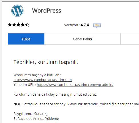 softaculous wordpress kurulum sonu