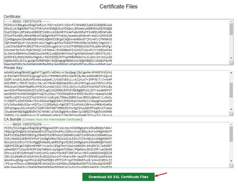 SSL Sertifikası bilgileri