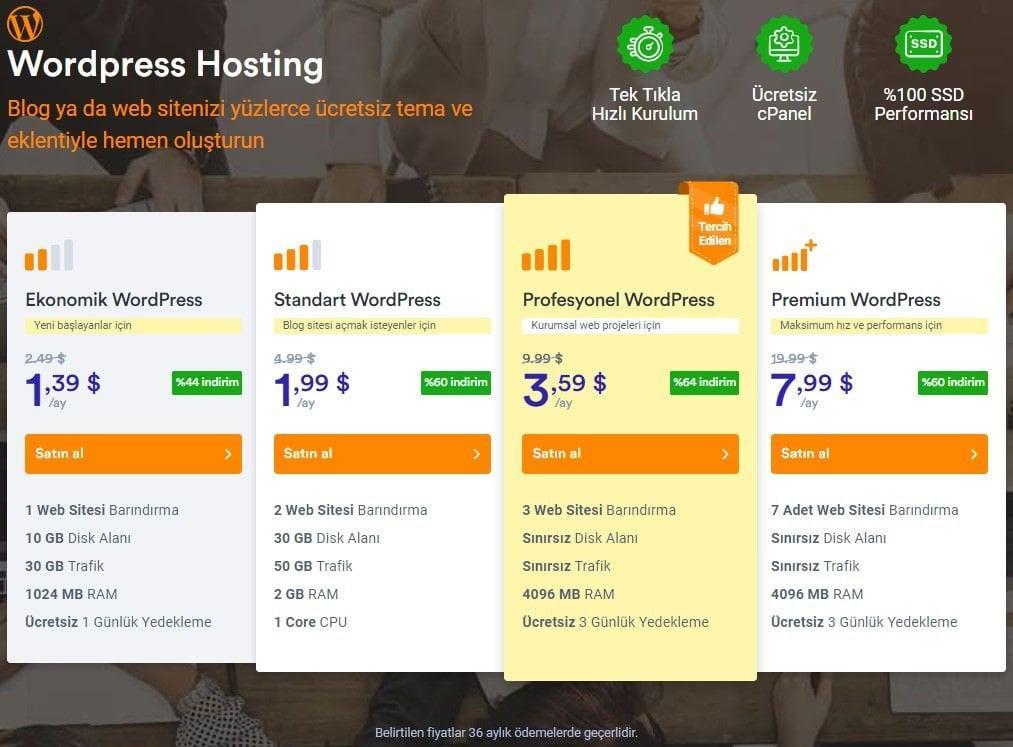 Vargonen WordPress Hosting Paket Fiyatları
