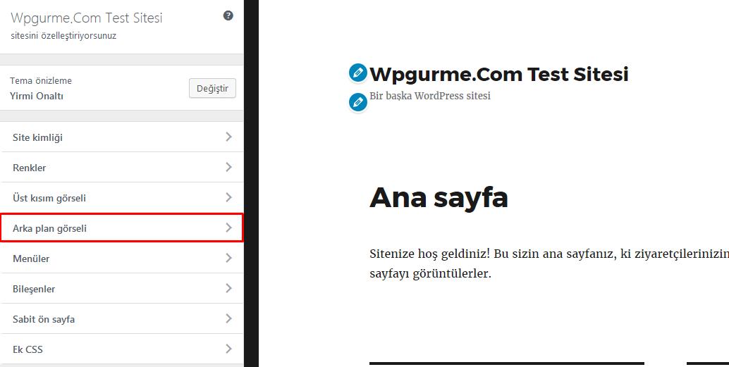 wordpress arka plan değiştirme