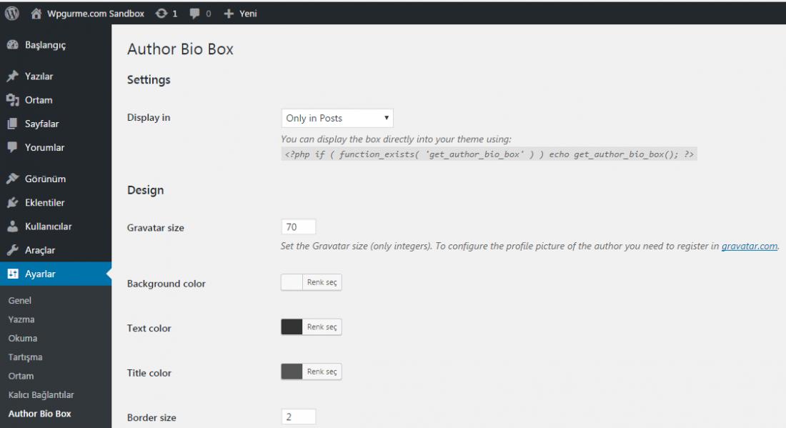 wordpress author bio box ayarlar