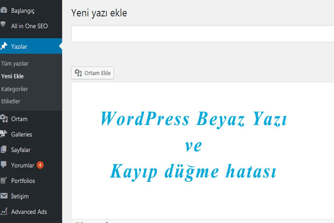 wordpress beyaz yazı kayıp düğme hatası
