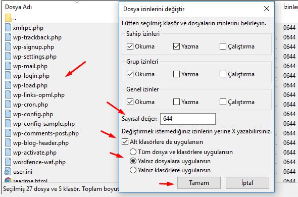 WordPress chmod dosya izinleri nasıl olmalı