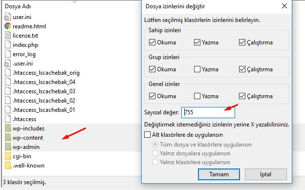 wordpress klasör izinleri nasıl olmalı