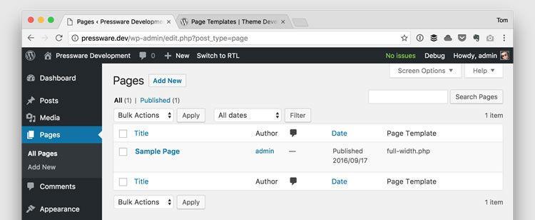 admin page template dashboard wordpress eklentisi
