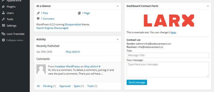 custom admin contact form wordpress eklentisi