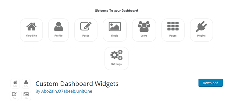 custom dashboard widgets wordpress eklentisi