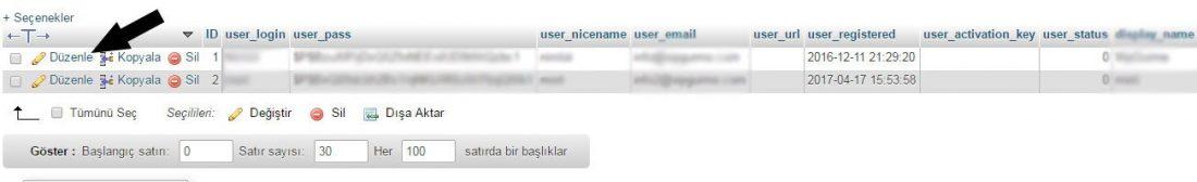 wordpress phpmyadmin wp_users tablosu