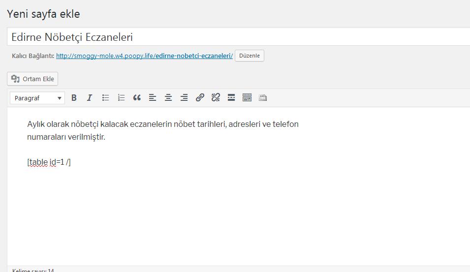 wordpress tablo kullanımı yazı ve sayfa tablepress