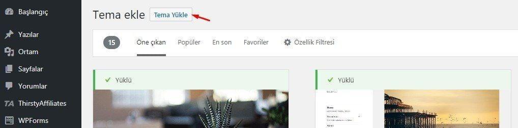 WordPress Tema yükle özelliği