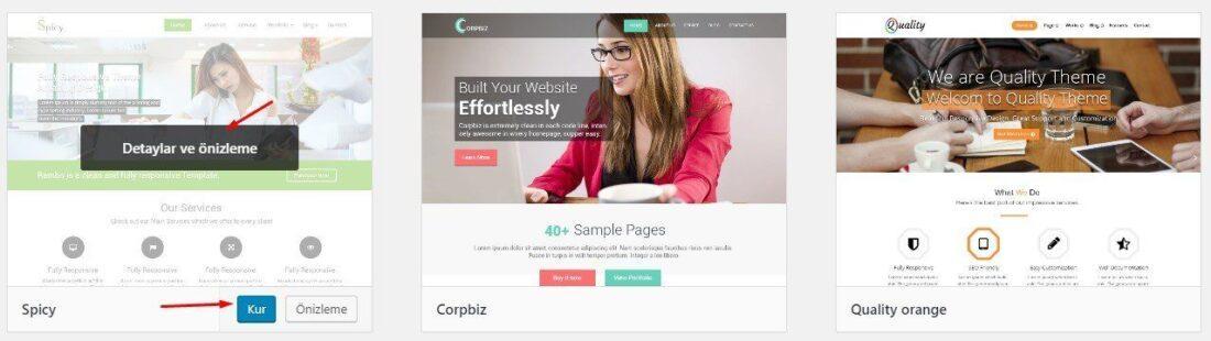 WordPress ücretsiz tema yükleme