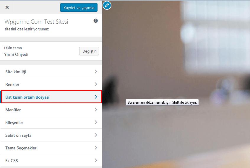 wordpress üst kısım ortam dosyası değiştirme