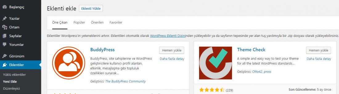 wordpress yeni eklenti ekle