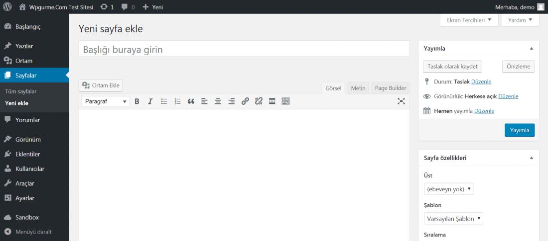wordpress yeni sayfa ekleme