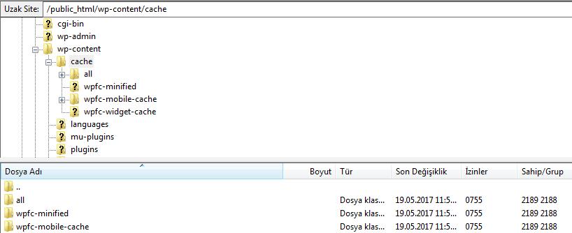 wp fastest cache sistemi mobil dosyalar