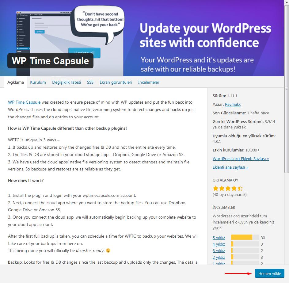 wp time capsule eklenti kurulum sayfası