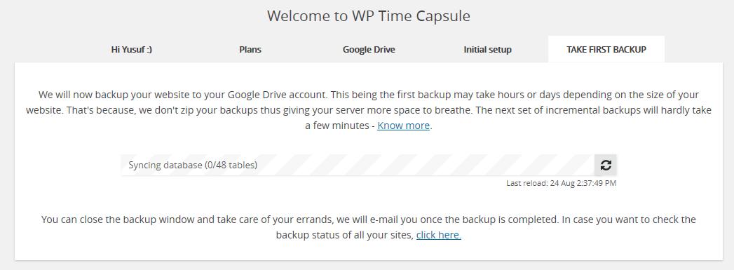 wp time capsule tam ilk yedekleme