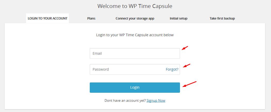 wp time capsule wordpress login