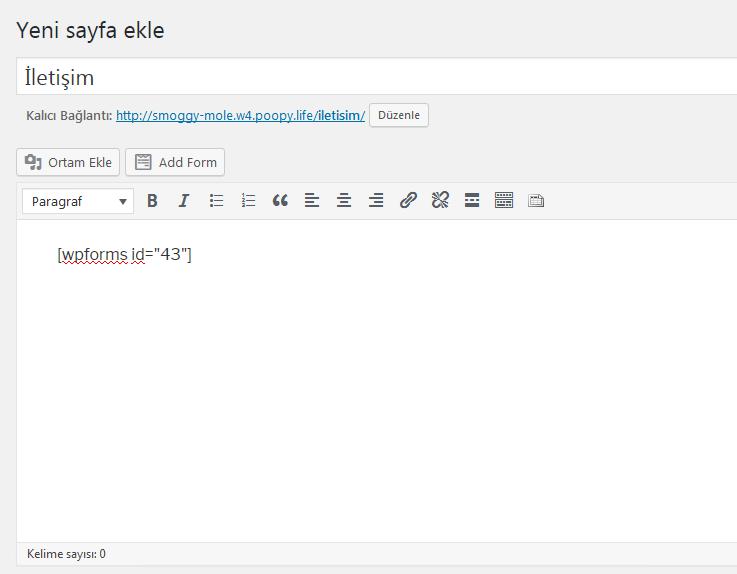 wpform form kısa kod