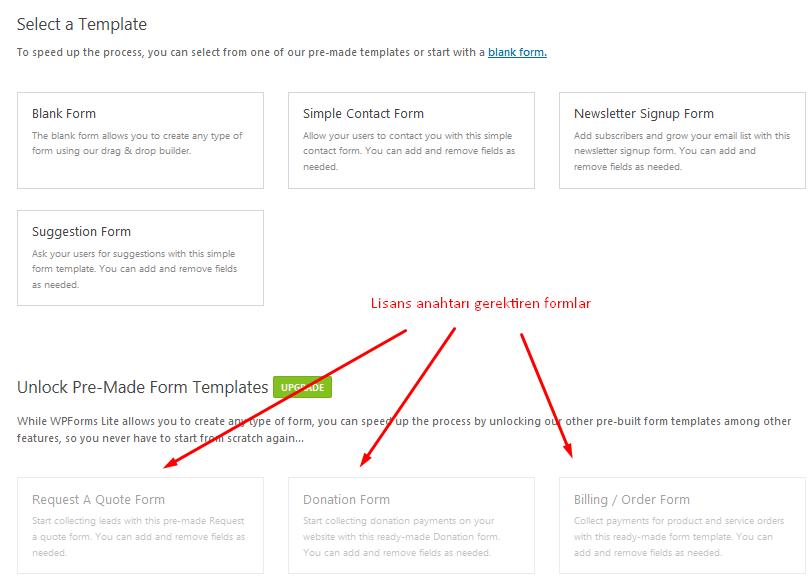 wpforms şablon seçim ekranı