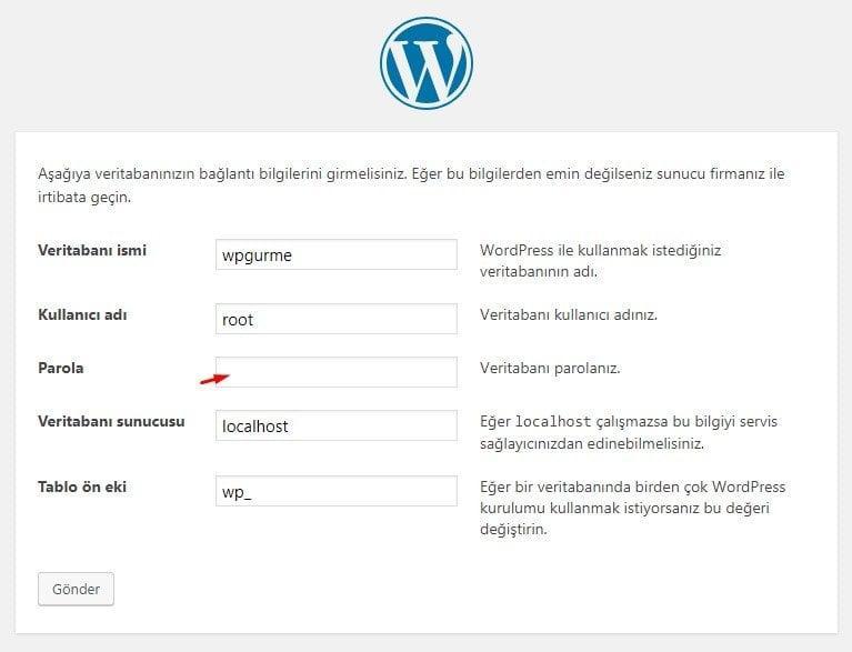 XAMPP WordPress Veritabanı Bilgileri