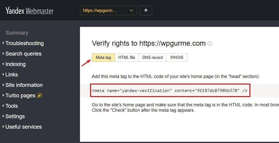 Yandex Webmaster Tools Meta Doğrulama
